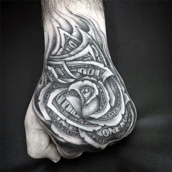 nexluxury money 1 rose hand tattoos