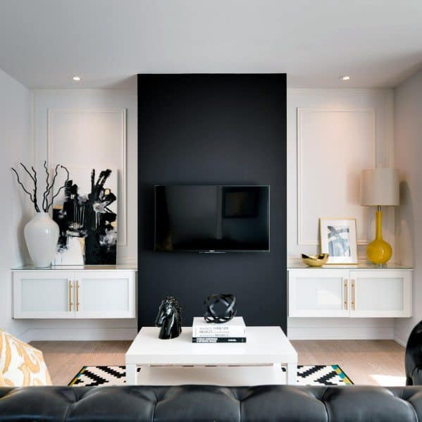 Black And White Painted Luxury Television Wall With Decor