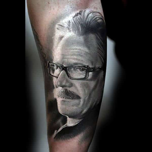 Black And White Realistic Portrait Of Man With Glasses Tattoo Forearms
