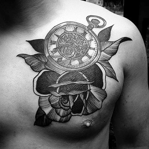 Black And White Shade Pocket Watch Tattoo On Chest For Guys