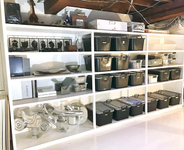 Black And White Shelf Basement Storage