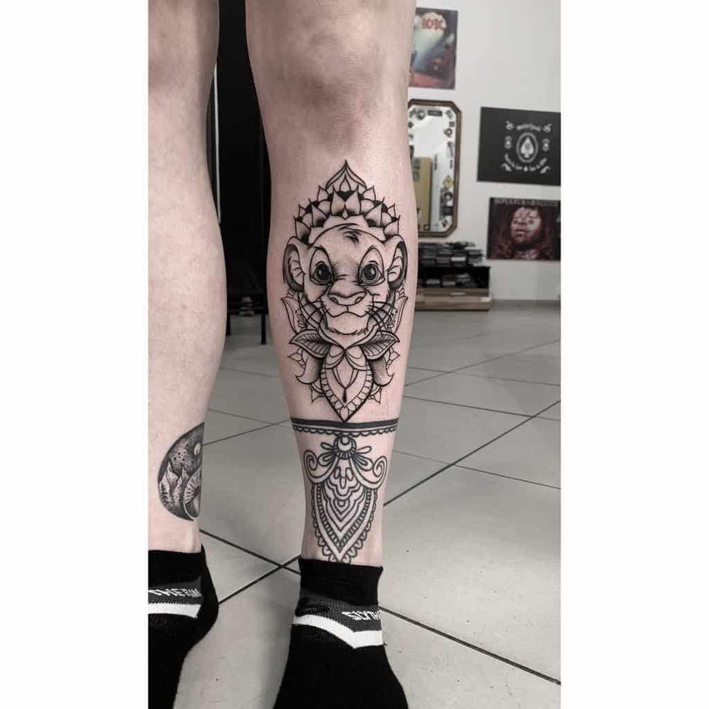 Black And White Simba Tattoo Piercingowaola Ta2