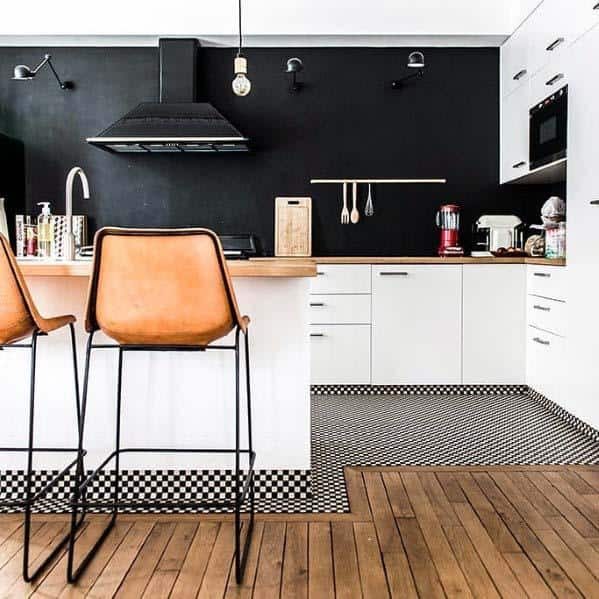 Black And White Small Checkered Home Design Ideas Kitchen Tile Floor
