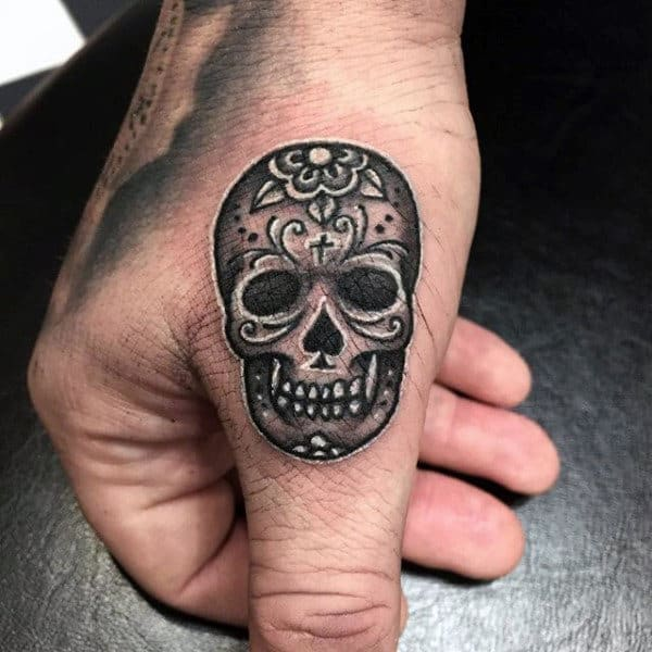 Black And White Sugar Skull Tattoos For Guys On Finger And Hand