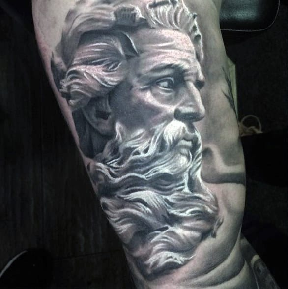 Black And White Tattoo Of Greek God Male Forearms