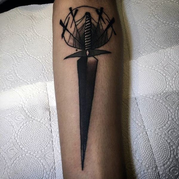 Black And White Tattoo Of Sharp Tool Mens Forearms