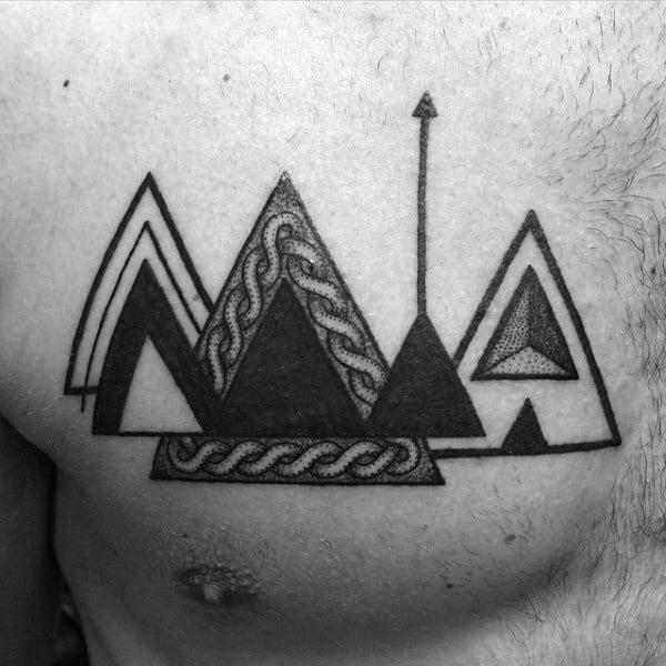 Black And White Triangle Wth Arrow Tattoo On Chest For Guys