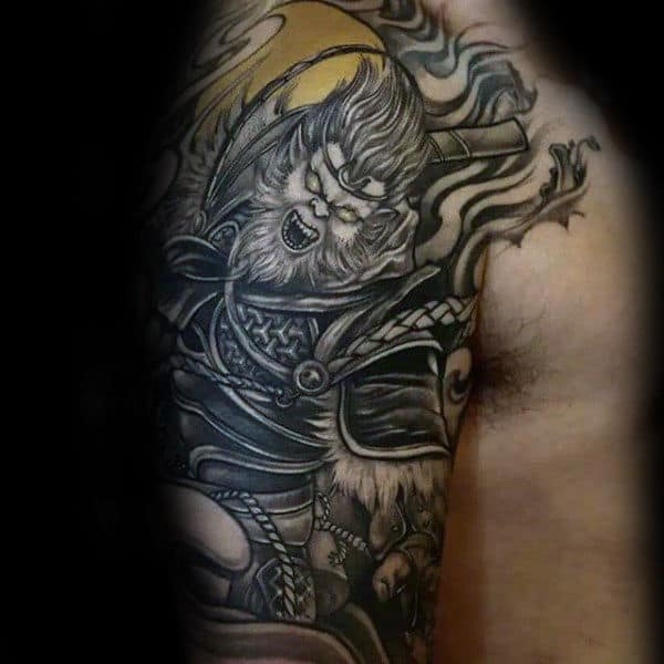 Black And Yellow Male Monkey King Half Sleeve Tattoos