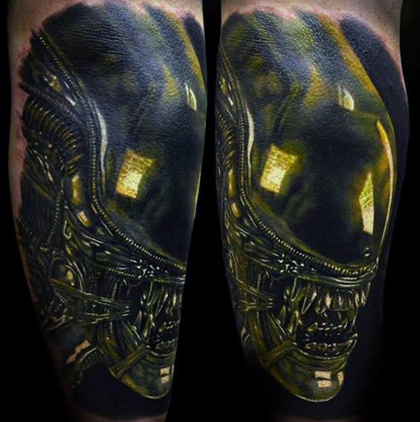 Black And Yellow Mens 3d Alien Tattoo Designs