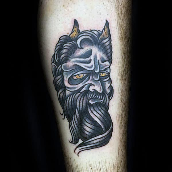 Black And Yellow Traditional Devil Guys Leg Tattoo