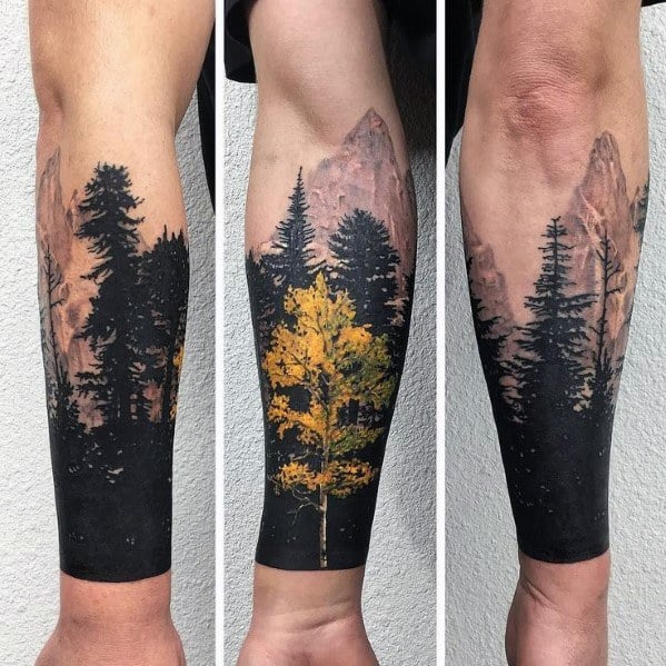Black And Yellow Tree Line Tattoos For Men