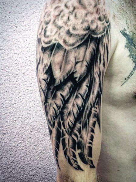 Black Angel Wing Tattoo Designs For Guys Half Sleeve