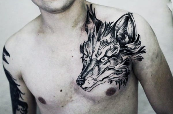 Black Angry Fox Head Tattoo Mens Chest