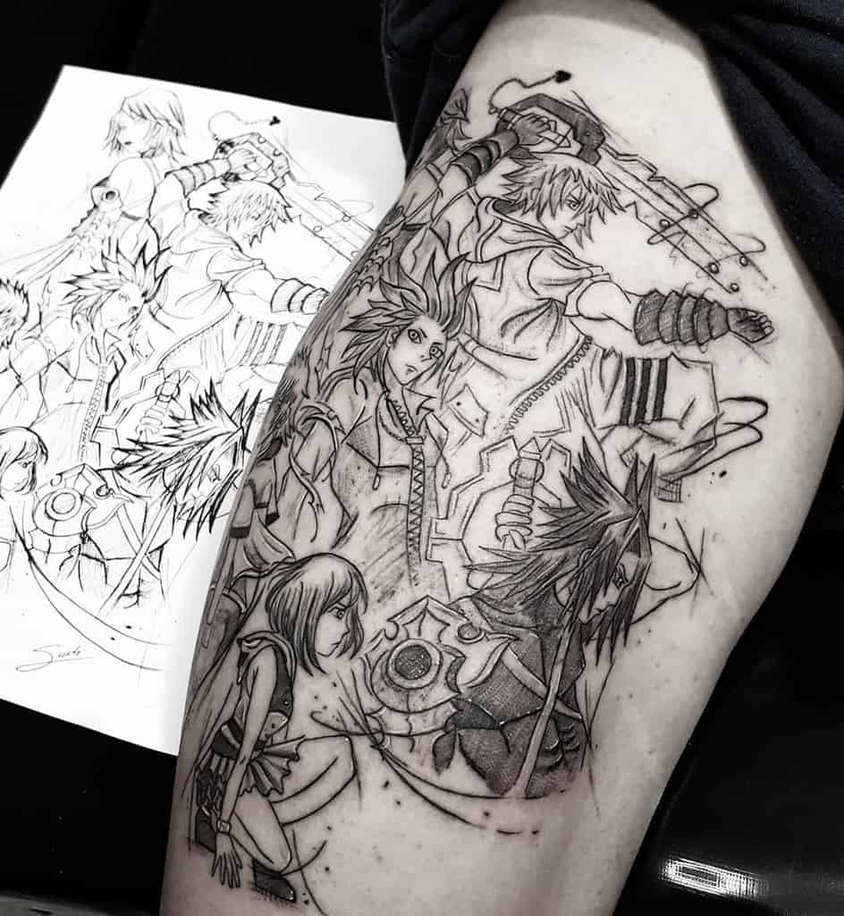 Black Anime Kingdom Hearts Tattoo
