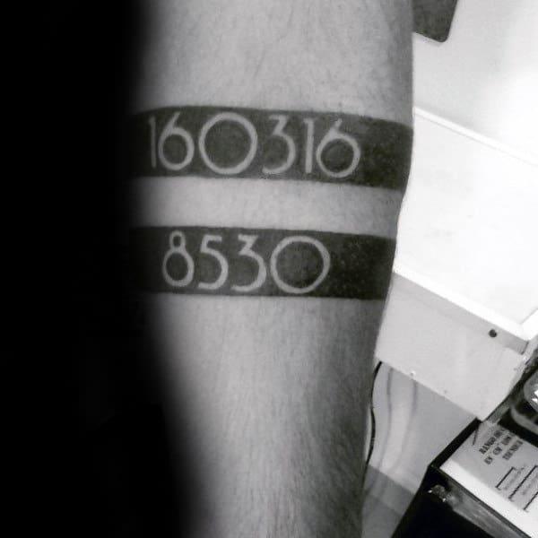Black Armband Mens Numbers Tattoo