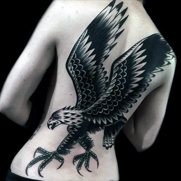 Black Bald Eagle Male Traditional Full Back Tattoo Designs