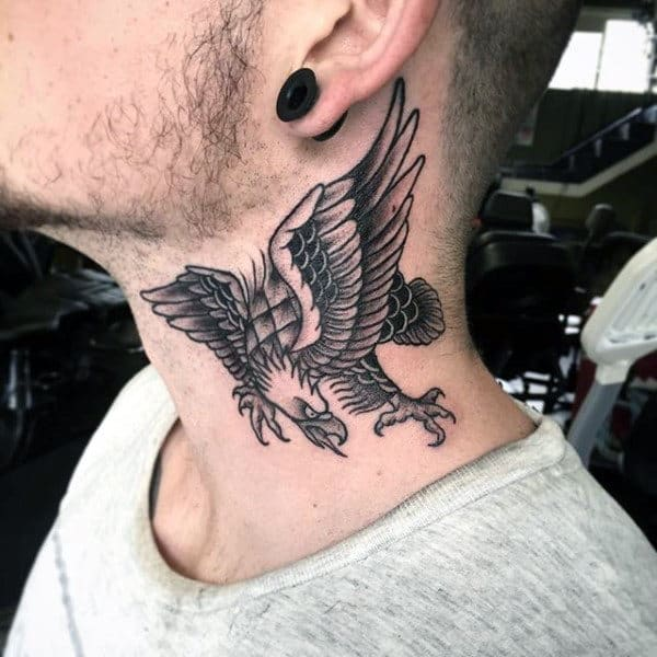 Black Bald Eagle Male Traditional Neck Tattoos