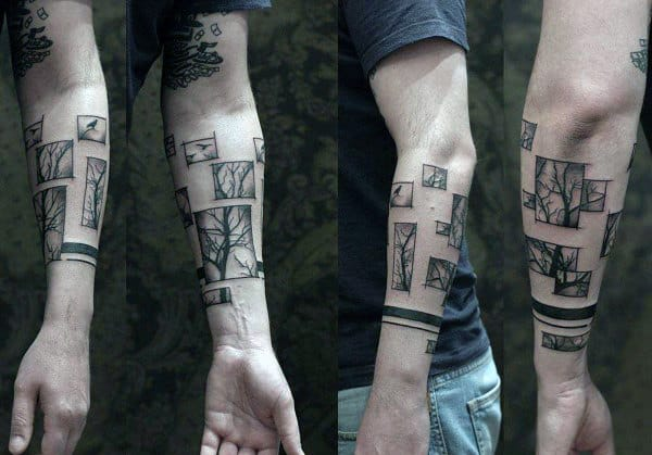 Black Band With Cube Tree Forearm Tattoo On Gentleman