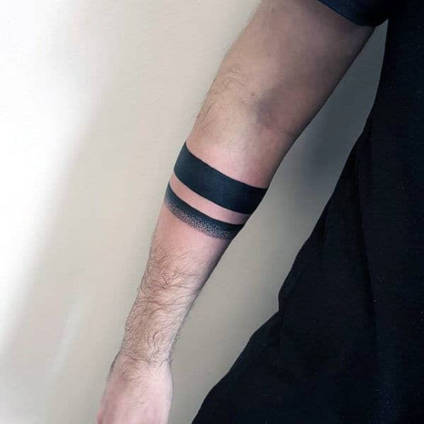 Black Band With Dotwork Design Guys Forearm Tattoos
