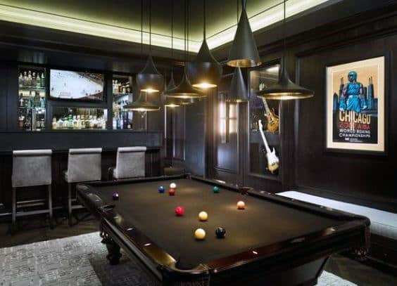 Black Basement Walls Masculine Man Cave Design With Pool Table And Wet Bar