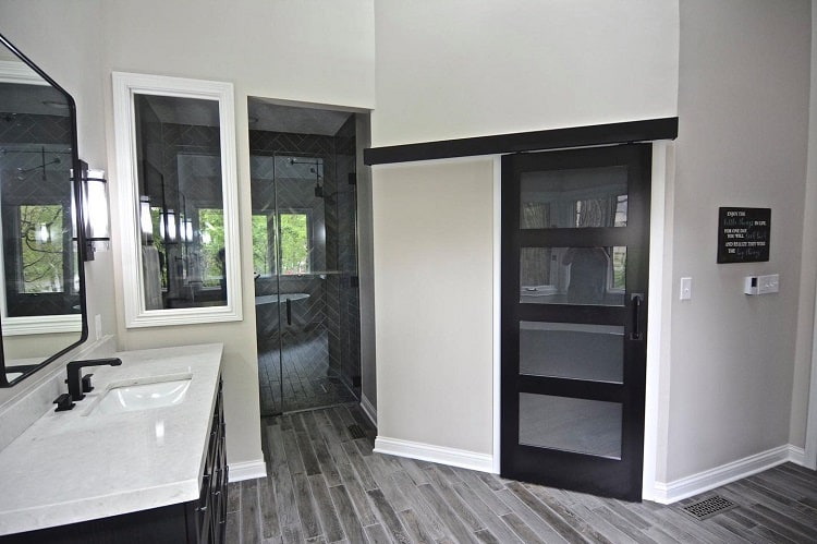 Black Bathroom Bard Door With Glass
