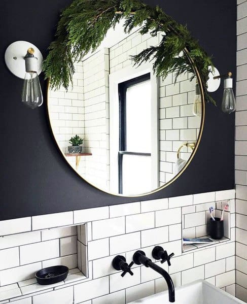 Black Bathroom Faucets With White Subway Tile On Wall