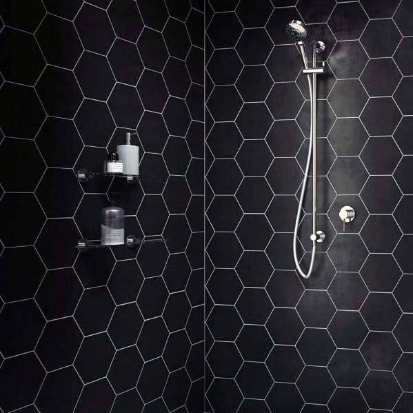 Black Bathroom Hexagon Shower Tile Ideas