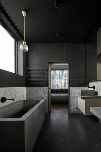 Top 60 Best Black Bathroom Ideas - Dark Interior Designs