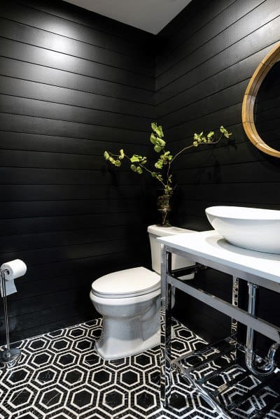 Black Bathroom Luxury Shiplap Wall Ideas