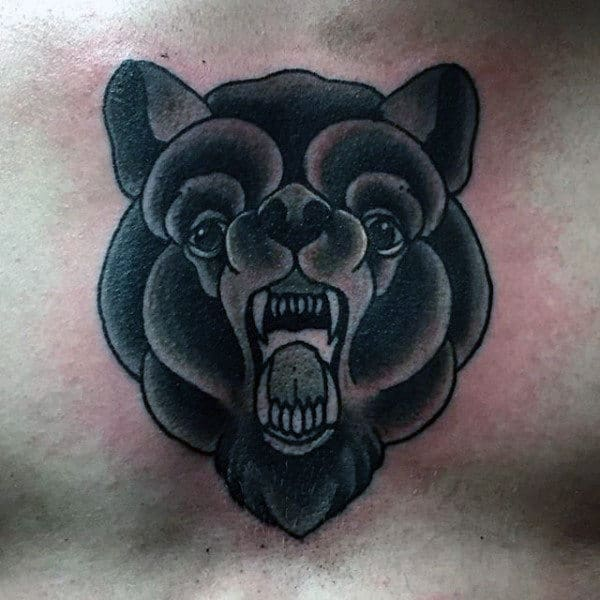 Black Bear Mens Traditional Tattoo Design On Upper Chest