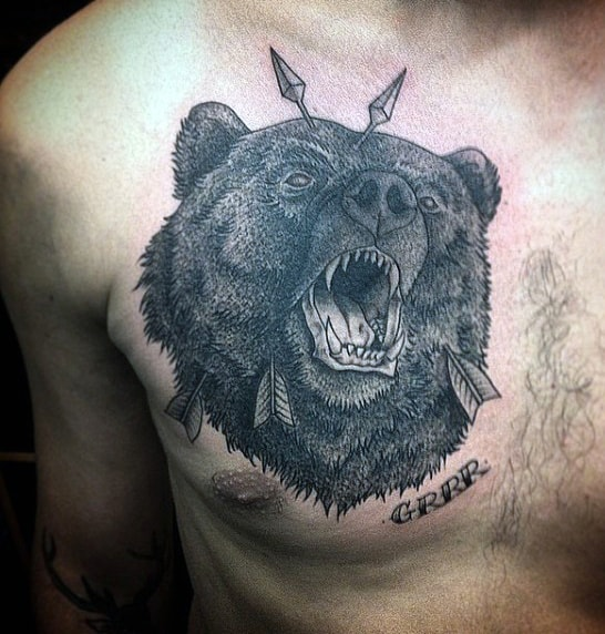 Black Bear Tattoo Designs For Men