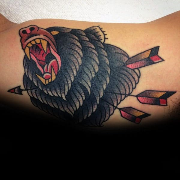 Black Bear With Arrows Male Traditional Inner Arm Bicep Tattoo Design Ideas