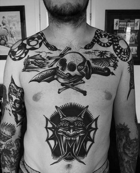 Black Beast Serpent And Traditional Skull Tattoo