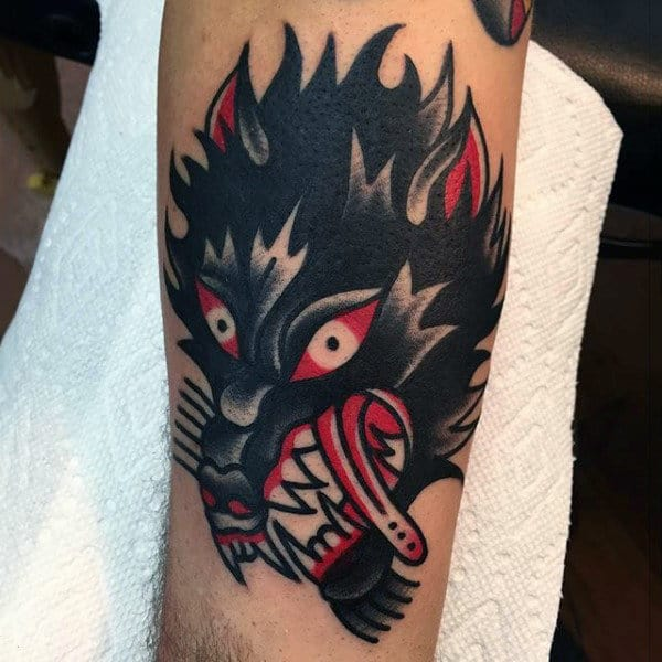 Black Beast With Red Tongue Tattoo Guys Arms