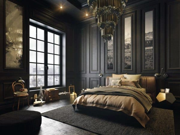 Black Bedroom Walls With Gold Decor