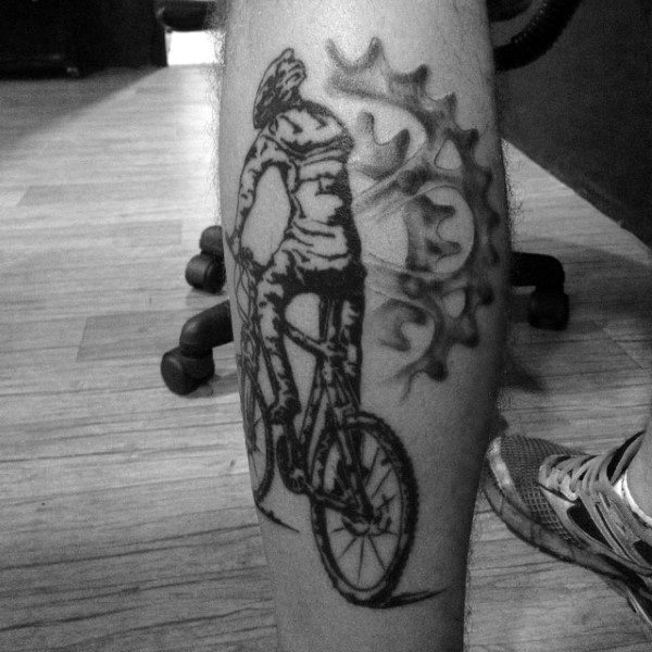 Black Bicycle With Gear Logo Tattoo On Legs For Males