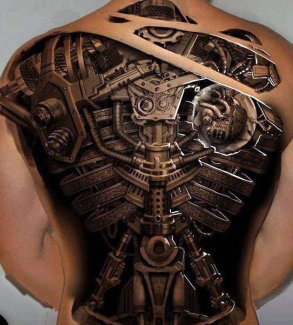 Black Biomechanical Men's Tattoo Designs
