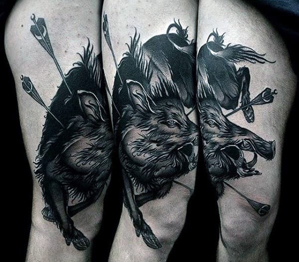 Black Boar With Arrows Mens Thigh And Leg Tattoo