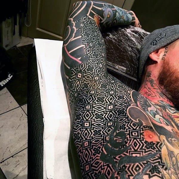 Black Bold Lines Tattoo Male Armpits