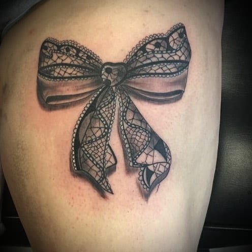 Black Bow Lace Tattoo
