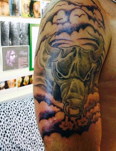 Smoking Black Bull Charging Animal Tattoo For Men