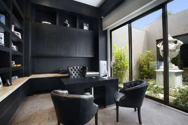 Black Cabinets And Desk Modern Home Office
