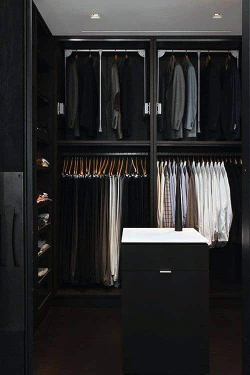 Black Cabinets In Mens Walk In Closet