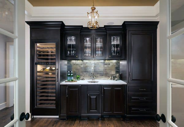 Nice Black Cabinets Wet Bar Ideas