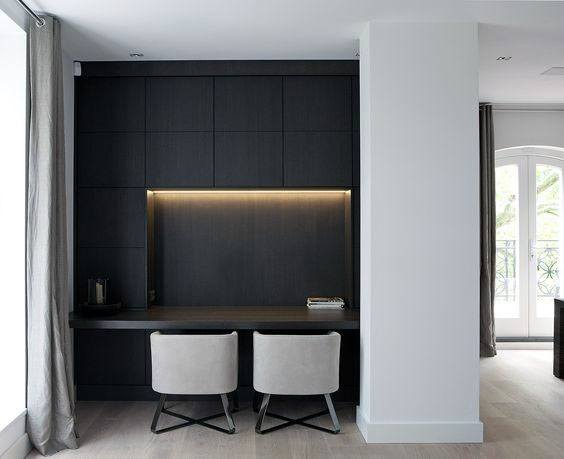 Superior Black Cabinets With Lighting Modern Home Office Designs