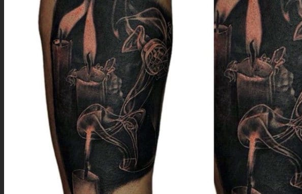 Black Candle Guys Flame Tattoos On Arm