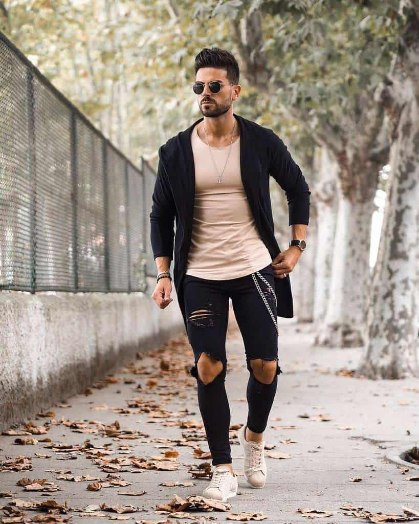 Black Cardigan Ripped Jeans Dapper Style