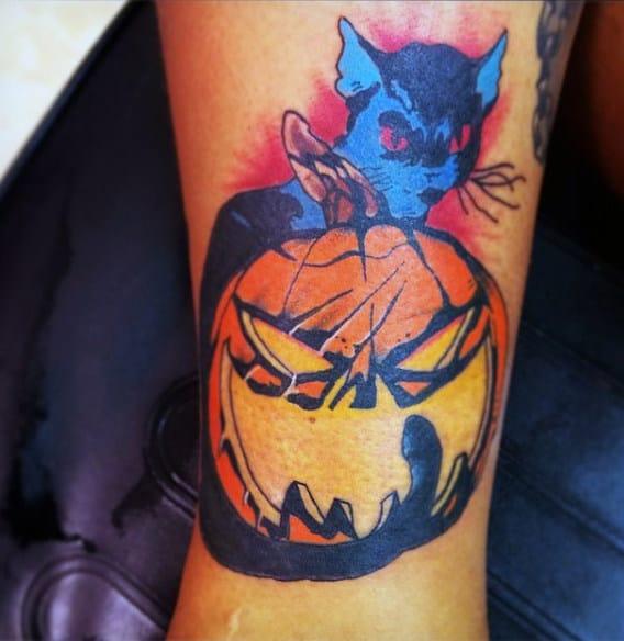 Black Cat With Pumpkin Mens Forearm Tattoo