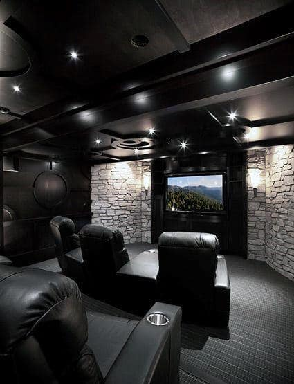 Black Ceiling With White Stone Walls Custom Home Theater Design Ideas