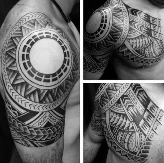 Black Circular Tattoo Guys Quarter Sleeve